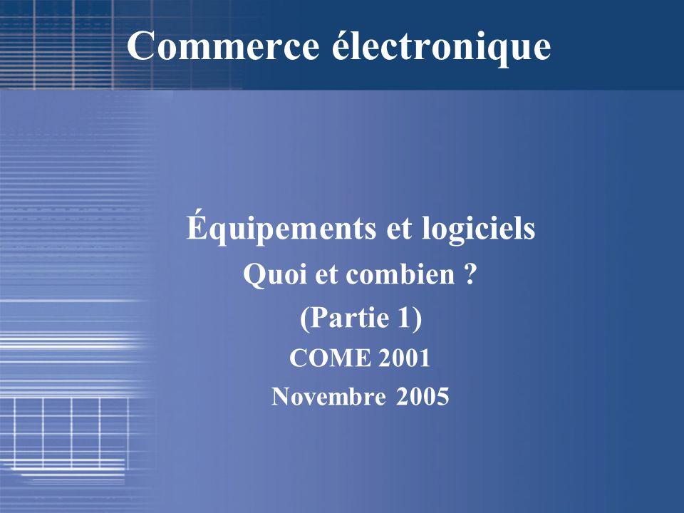Équipements et logiciels Quoi et combien ? (Partie 1) COME 2001 Novembre 2005 Commerce électronique