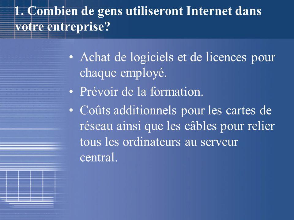 1. Combien de gens utiliseront Internet dans votre entreprise? Achat de logiciels et de licences pour chaque employé. Prévoir de la formation. Coûts a