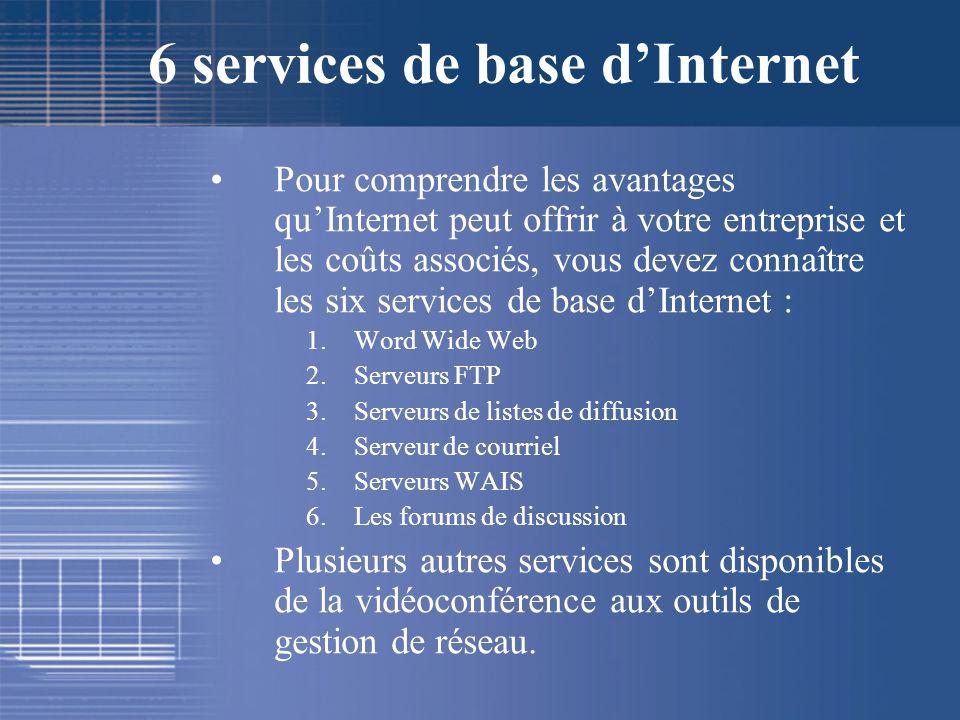 6 services de base dInternet Pour comprendre les avantages quInternet peut offrir à votre entreprise et les coûts associés, vous devez connaître les s