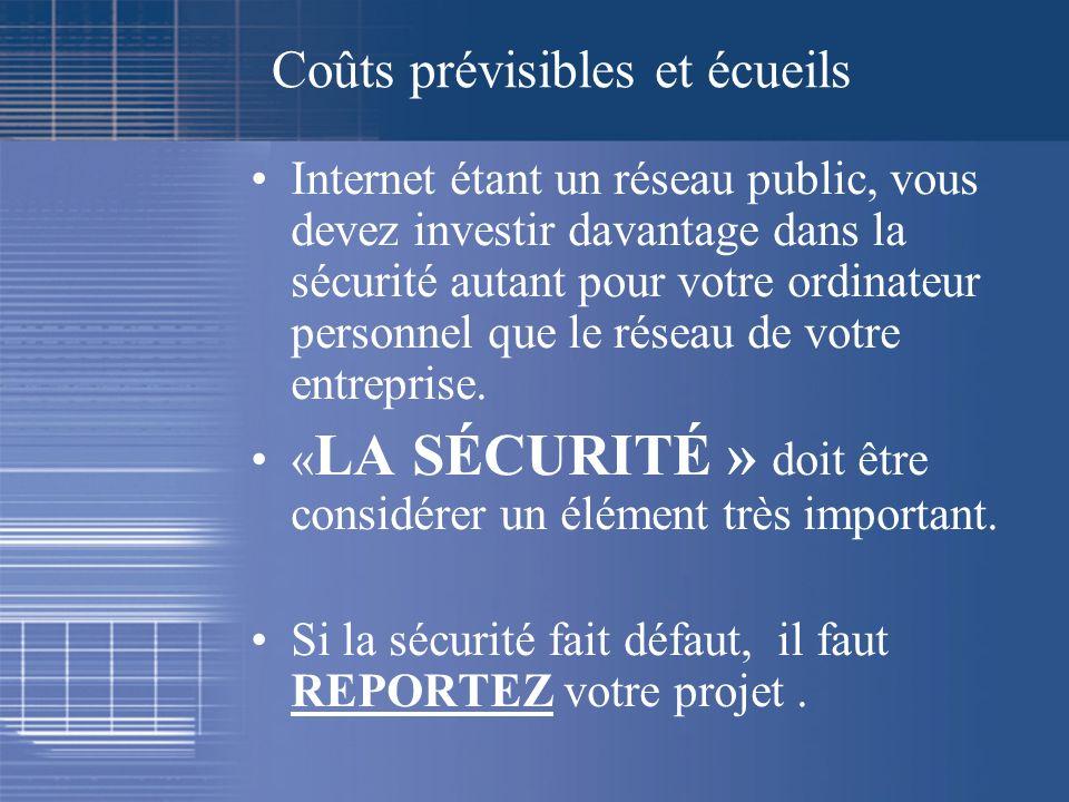 Coûts prévisibles et écueils Internet étant un réseau public, vous devez investir davantage dans la sécurité autant pour votre ordinateur personnel qu