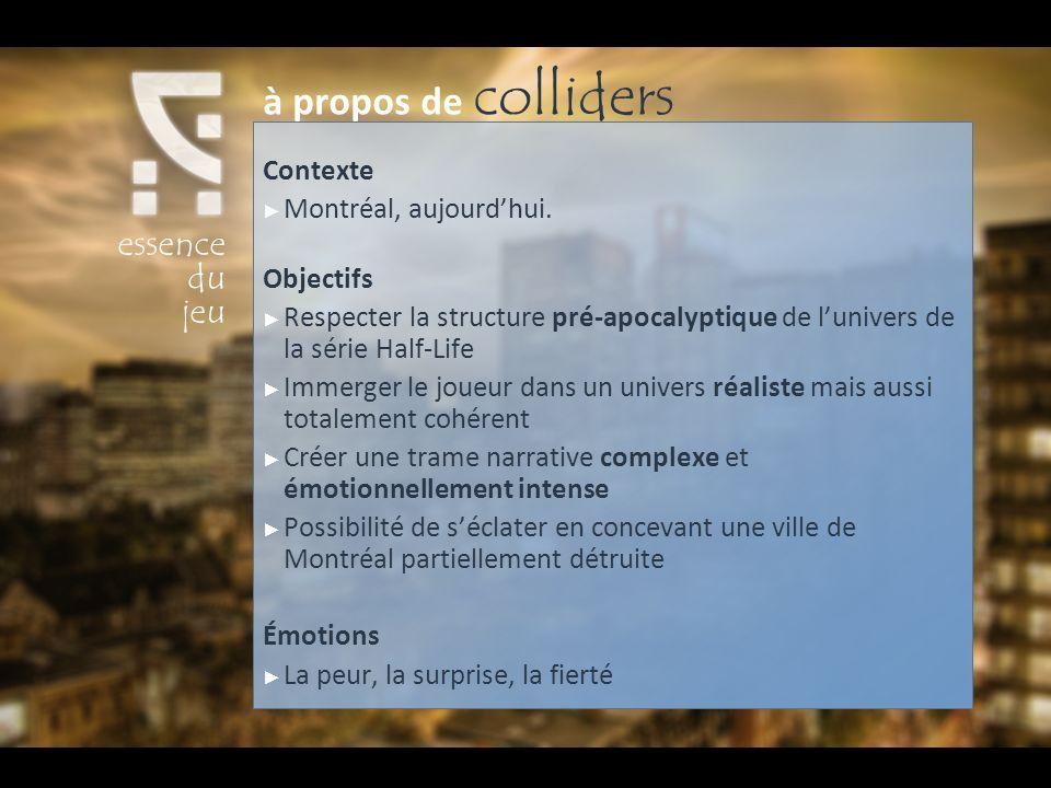 Contexte Montréal, aujourdhui. Objectifs Respecter la structure pré-apocalyptique de lunivers de la série Half-Life Immerger le joueur dans un univers