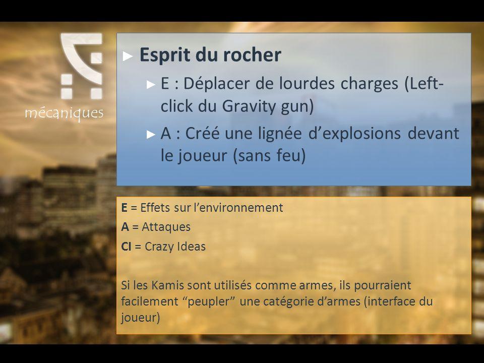 Esprit du rocher E : Déplacer de lourdes charges (Left- click du Gravity gun) A : Créé une lignée dexplosions devant le joueur (sans feu) E = Effets s
