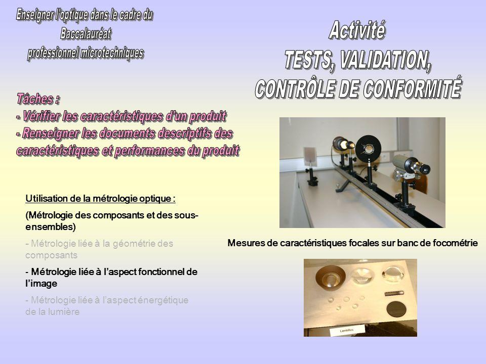 Utilisation de la métrologie optique : (Métrologie des composants et des sous- ensembles) - Métrologie liée à la géométrie des composants - Métrologie