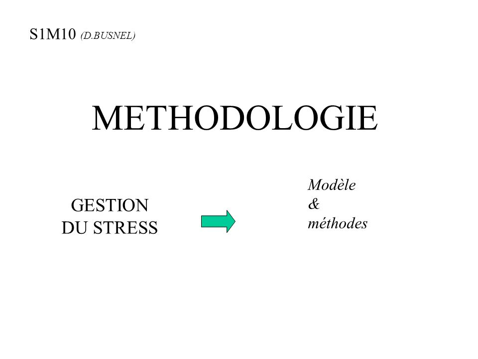 METHODOLOGIE GESTION DU STRESS Modèle & méthodes S1M10 (D.BUSNEL)
