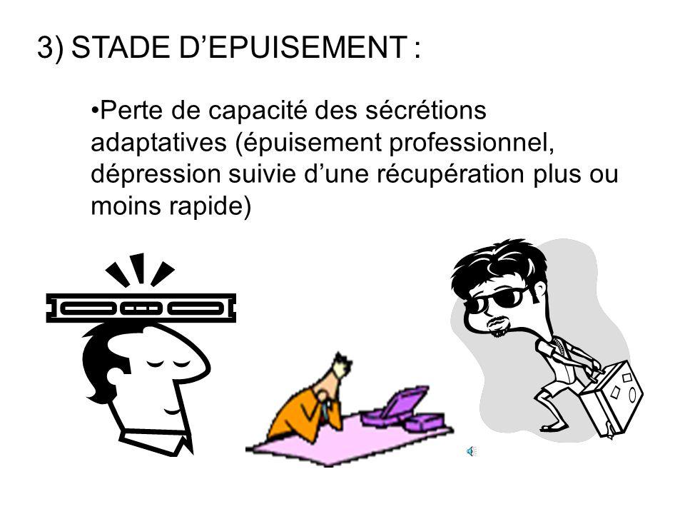 2)STADE DE RESISTANCE : Si les stimuli stressants persistent, manifestations du syndrome général dadaptation (la personne somatise, les maladies psych