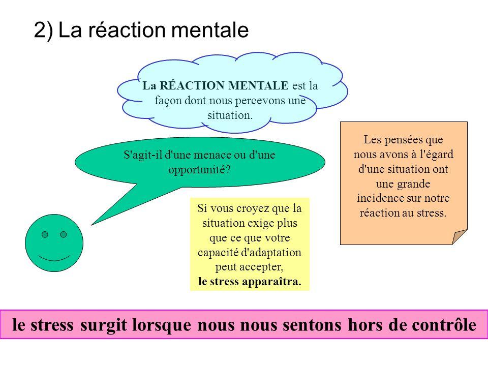 1)le stresseur Le facteur de stress, agent stressant, agent ou facteur d'agression peut être Il peut être extérieur ou intérieur. Toute situation ou t