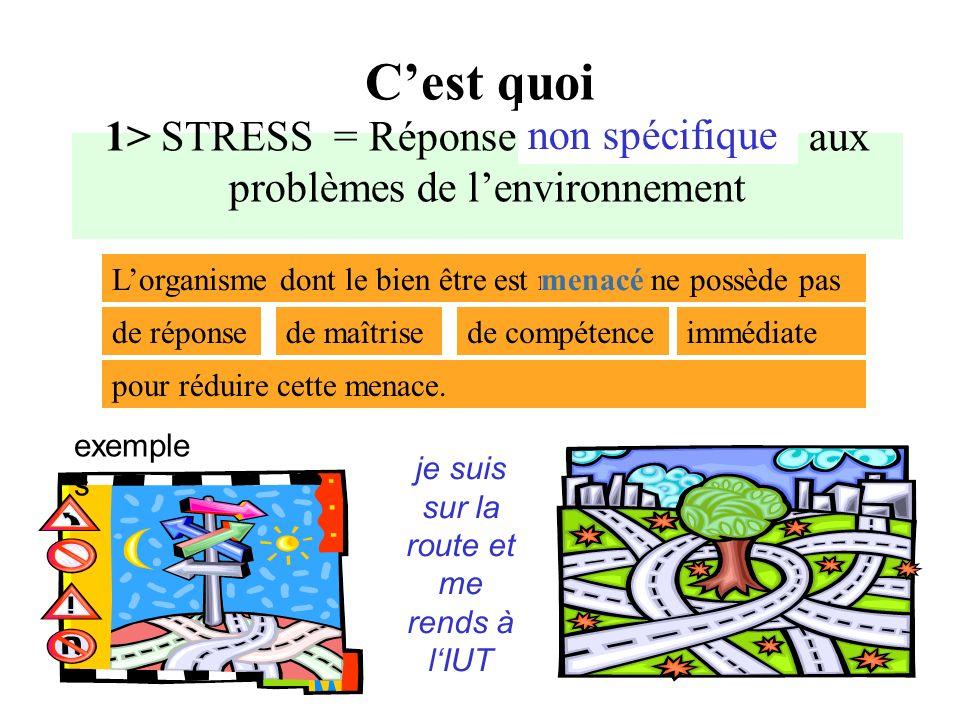 REPONSE DE STRESS AU NIVEAU PHYSIOLOGIQUE Tachycardie, hyperventilation, sudation, hypersécrétion gastrique