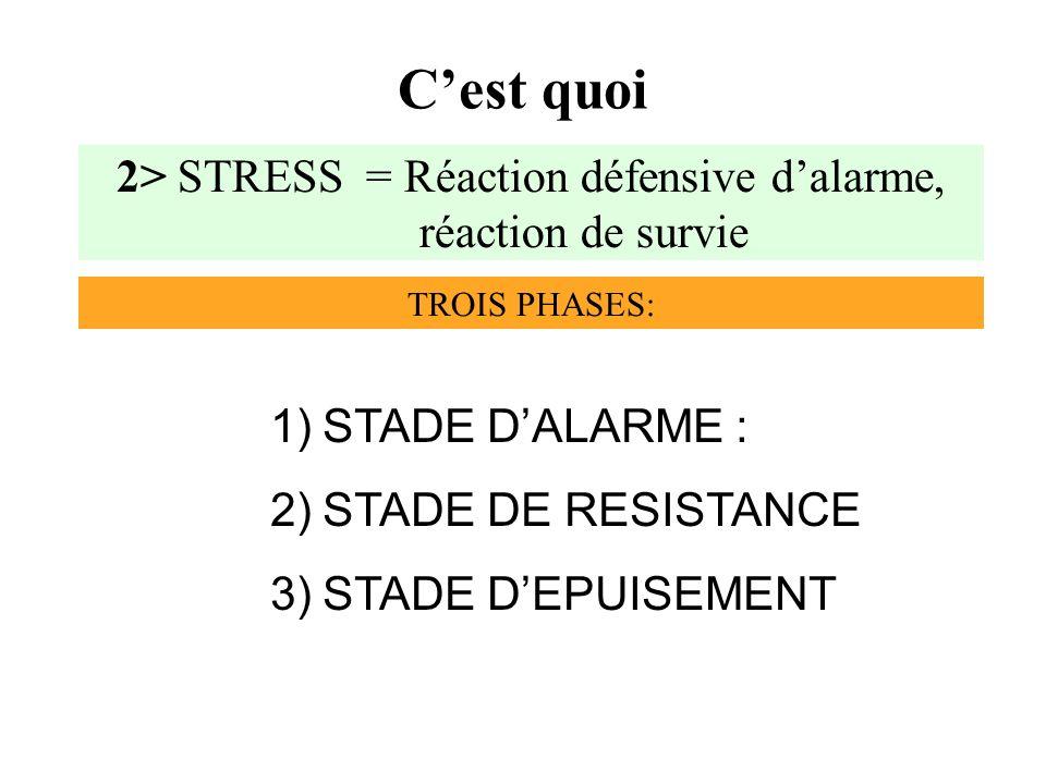 2> STRESS = Réaction défensive dalarme, réaction de survie TROIS PHASES: Cest quoi 1)STADE DALARME : 2)STADE DE RESISTANCE 3)STADE DEPUISEMENT