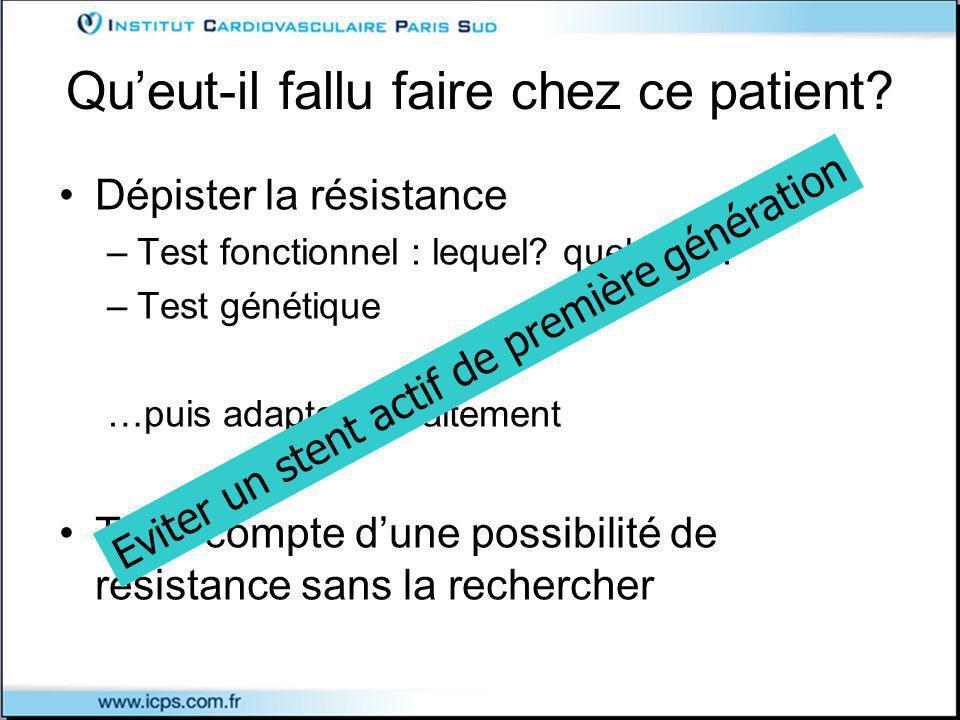 Queut-il fallu faire chez ce patient.Dépister la résistance –Test fonctionnel : lequel.