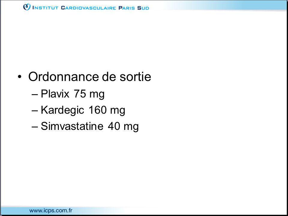 Ordonnance de sortie –Plavix 75 mg –Kardegic 160 mg –Simvastatine 40 mg