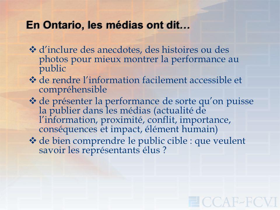 En Ontario, les médias ont dit… dinclure des anecdotes, des histoires ou des photos pour mieux montrer la performance au public de rendre linformation