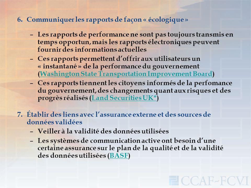 6. Communiquer les rapports de façon « écologique » – Les rapports de performance ne sont pas toujours transmis en temps opportun, mais les rapports é