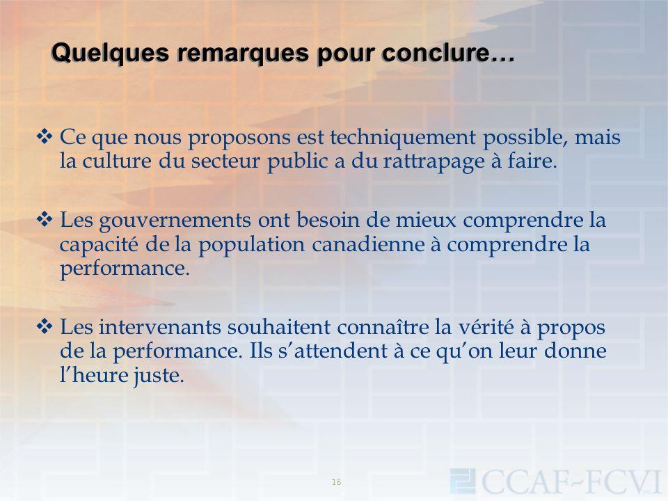 18 Quelques remarques pour conclure… Ce que nous proposons est techniquement possible, mais la culture du secteur public a du rattrapage à faire. Les