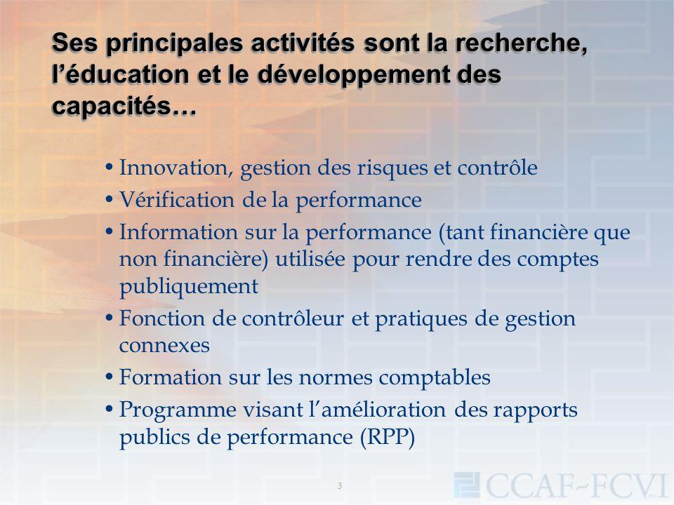 Ses principales activités sont la recherche, léducation et le développement des capacités… Innovation, gestion des risques et contrôle Vérification de