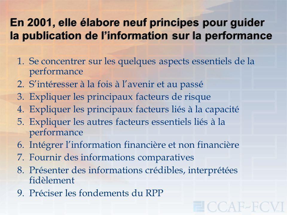 En 2001, elle élabore neuf principes pour guider la publication de linformation sur la performance 1.Se concentrer sur les quelques aspects essentiels