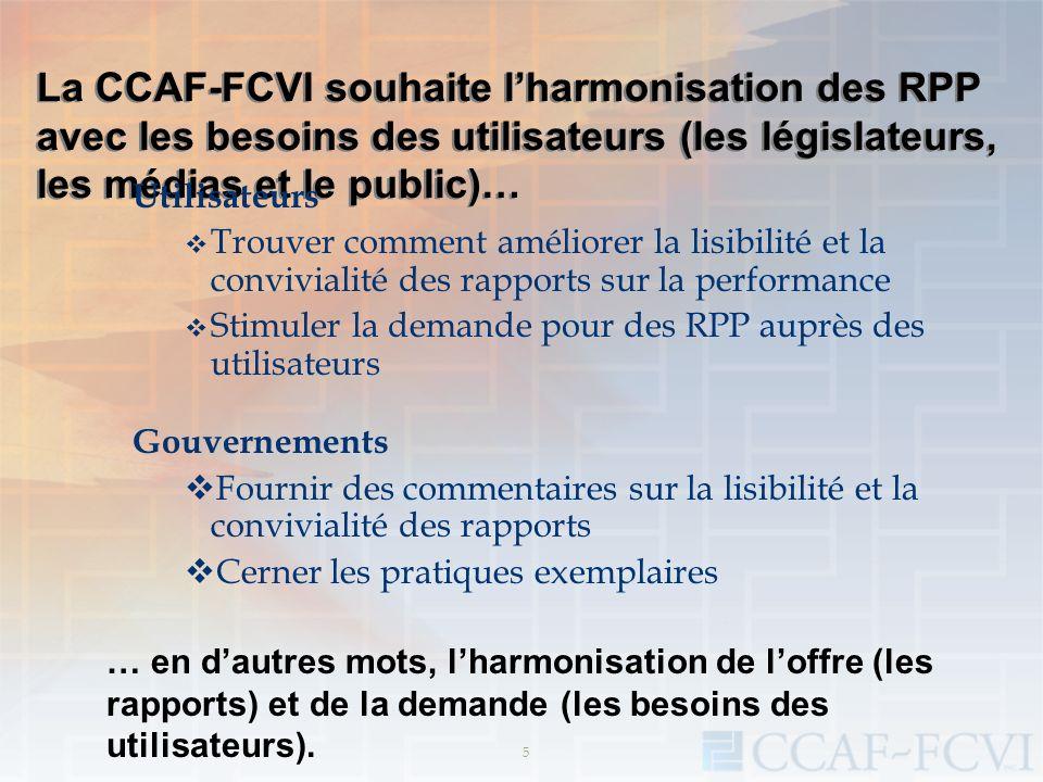 5 La CCAF-FCVI souhaite lharmonisation des RPP avec les besoins des utilisateurs (les législateurs, les médias et le public)… Utilisateurs Trouver com
