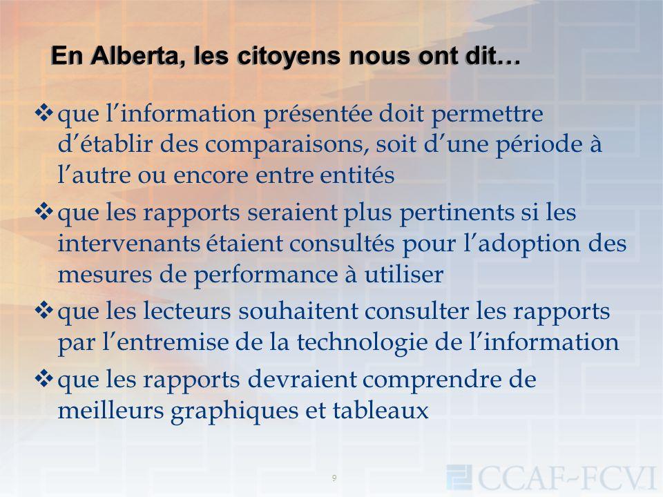 En Alberta, les citoyens nous ont dit… que linformation présentée doit permettre détablir des comparaisons, soit dune période à lautre ou encore entre