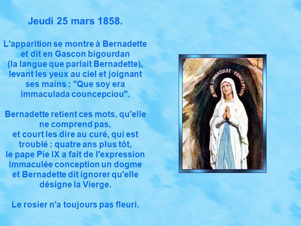 Mercredi 3 mars 1858. Trois mille personnes accompagnent Bernadette. La vision ne vient pas. Plus tard, Bernadette se sent appelée et retourne à la gr
