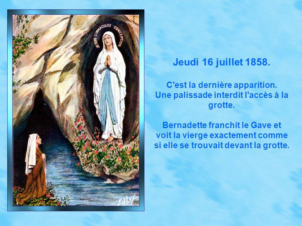 Mercredi 7 avril 1858. Le docteur Douzous constate que la flamme du cierge que tient Bernadette pendant l'apparition entoure sa main sans la brûler.
