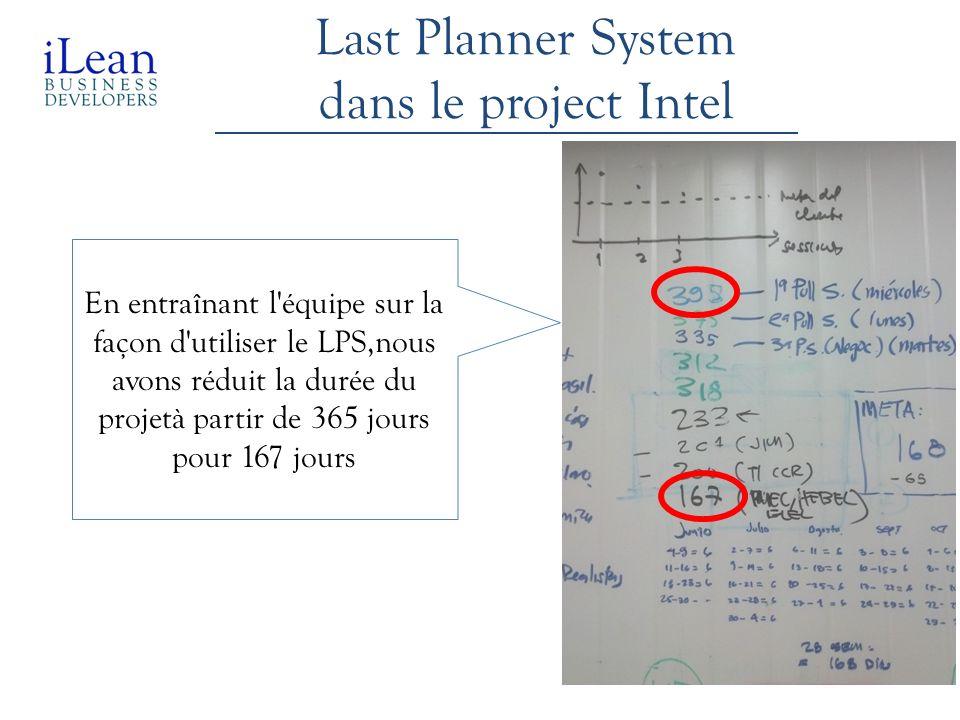 Last Planner System dans le project Intel En entraînant l'équipe sur la façon d'utiliser le LPS,nous avons réduit la durée du projetà partir de 365 jo