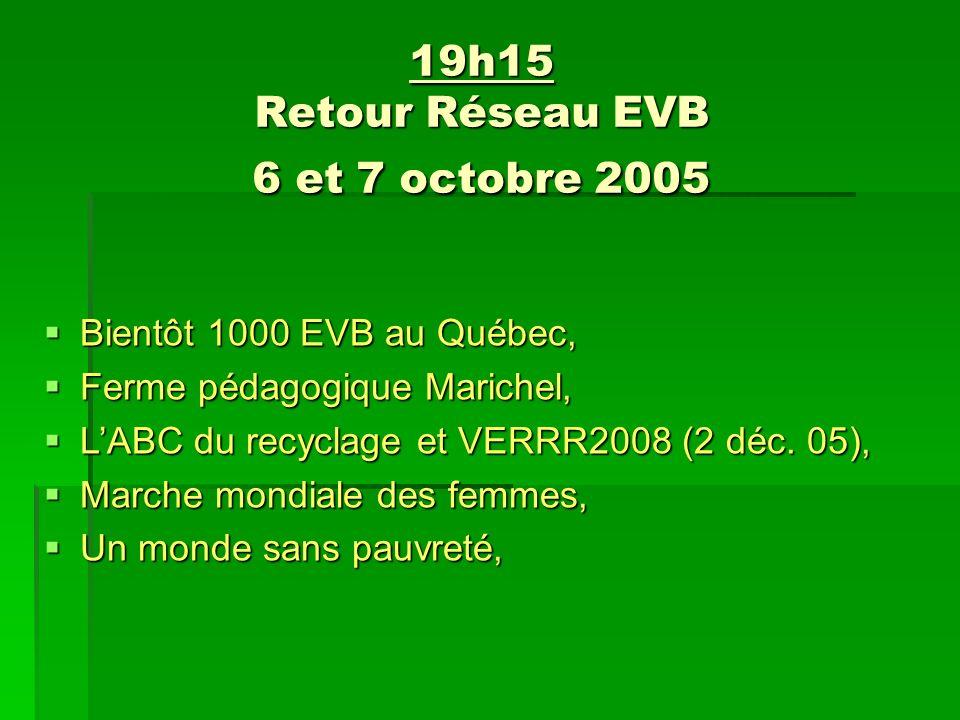 19h15 Retour Réseau EVB 6 et 7 octobre 2005 Bientôt 1000 EVB au Québec, Bientôt 1000 EVB au Québec, Ferme pédagogique Marichel, Ferme pédagogique Marichel, LABC du recyclage et VERRR2008 (2 déc.