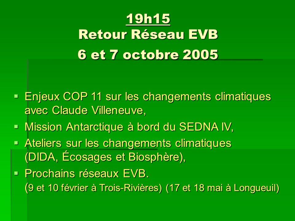 19h15 Retour Réseau EVB 6 et 7 octobre 2005 Enjeux COP 11 sur les changements climatiques avec Claude Villeneuve, Enjeux COP 11 sur les changements climatiques avec Claude Villeneuve, Mission Antarctique à bord du SEDNA IV, Mission Antarctique à bord du SEDNA IV, Ateliers sur les changements climatiques (DIDA, Écosages et Biosphère), Ateliers sur les changements climatiques (DIDA, Écosages et Biosphère), Prochains réseaux EVB.