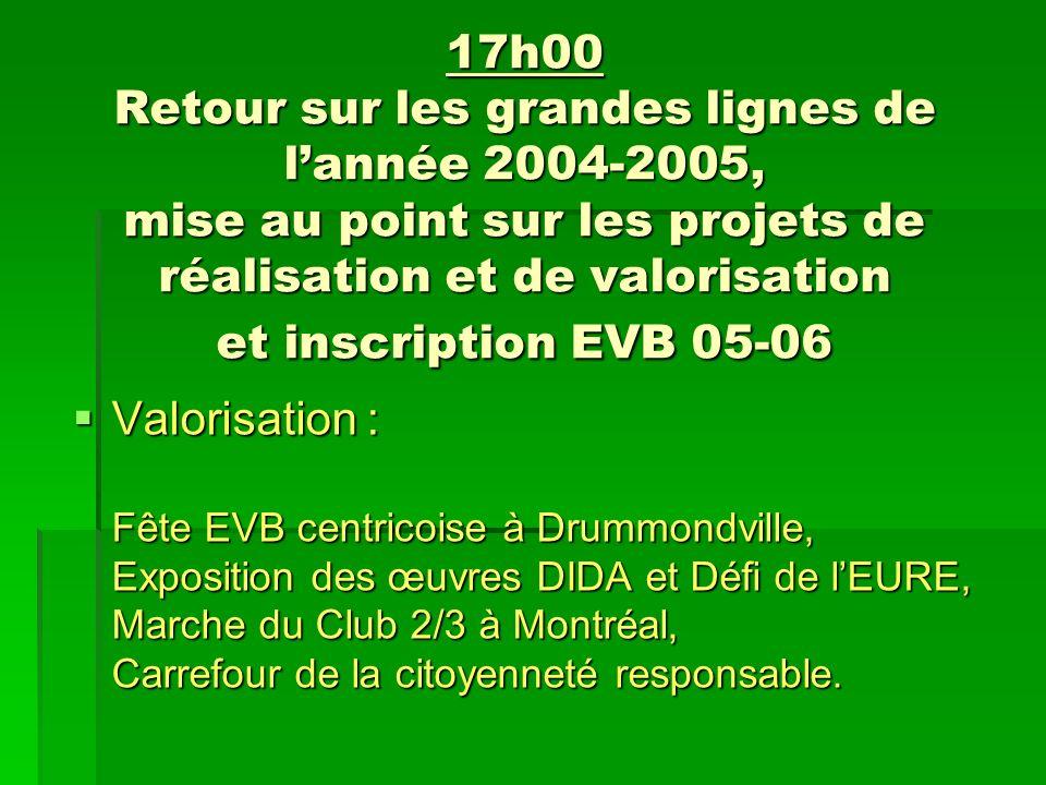 17h00 Retour sur les grandes lignes de lannée 2004-2005, mise au point sur les projets de réalisation et de valorisation et inscription EVB 05-06 Valorisation : Fête EVB centricoise à Drummondville, Exposition des œuvres DIDA et Défi de lEURE, Marche du Club 2/3 à Montréal, Carrefour de la citoyenneté responsable.
