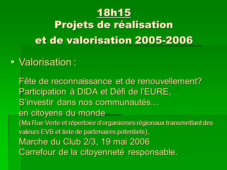 18h15 Projets de réalisation et de valorisation 2005-2006 Valorisation : Fête de reconnaissance et de renouvellement.