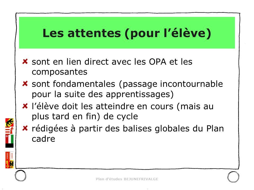Plan détudes BEJUNEFRIVALGE Les attentes (pour lélève) sont en lien direct avec les OPA et les composantes sont fondamentales (passage incontournable