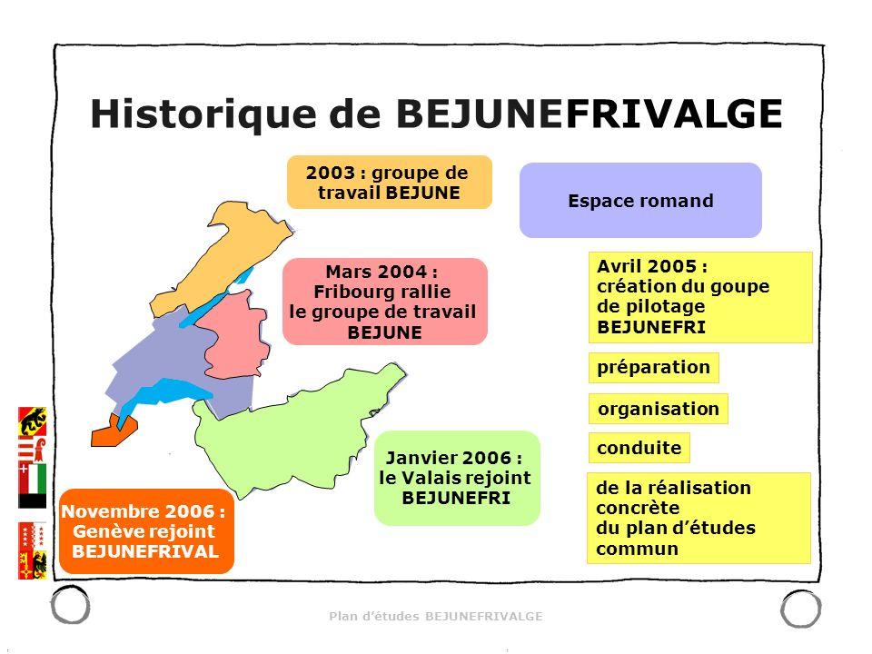 Plan détudes BEJUNEFRIVALGE 2003 : groupe de travail BEJUNE Mars 2004 : Fribourg rallie le groupe de travail BEJUNE Janvier 2006 : le Valais rejoint B