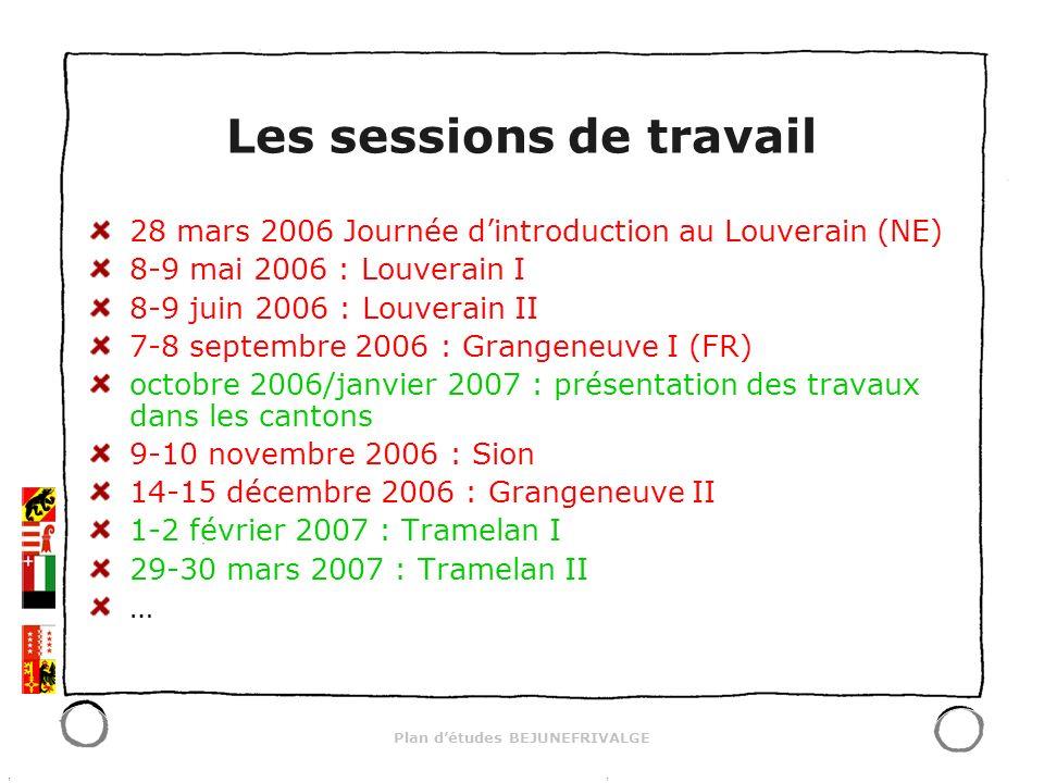 Plan détudes BEJUNEFRIVALGE Les sessions de travail 28 mars 2006 Journée dintroduction au Louverain (NE) 8-9 mai 2006 : Louverain I 8-9 juin 2006 : Lo