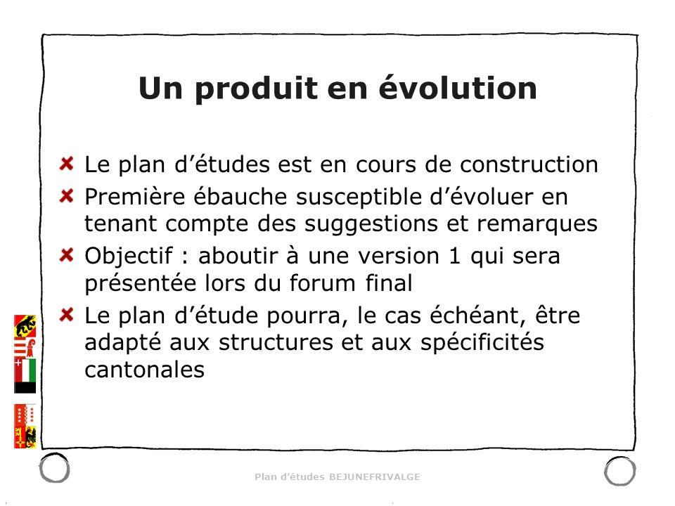 Plan détudes BEJUNEFRIVALGE Un produit en évolution Le plan détudes est en cours de construction Première ébauche susceptible dévoluer en tenant compt