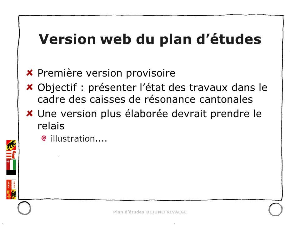 Plan détudes BEJUNEFRIVALGE Version web du plan détudes Première version provisoire Objectif : présenter létat des travaux dans le cadre des caisses d