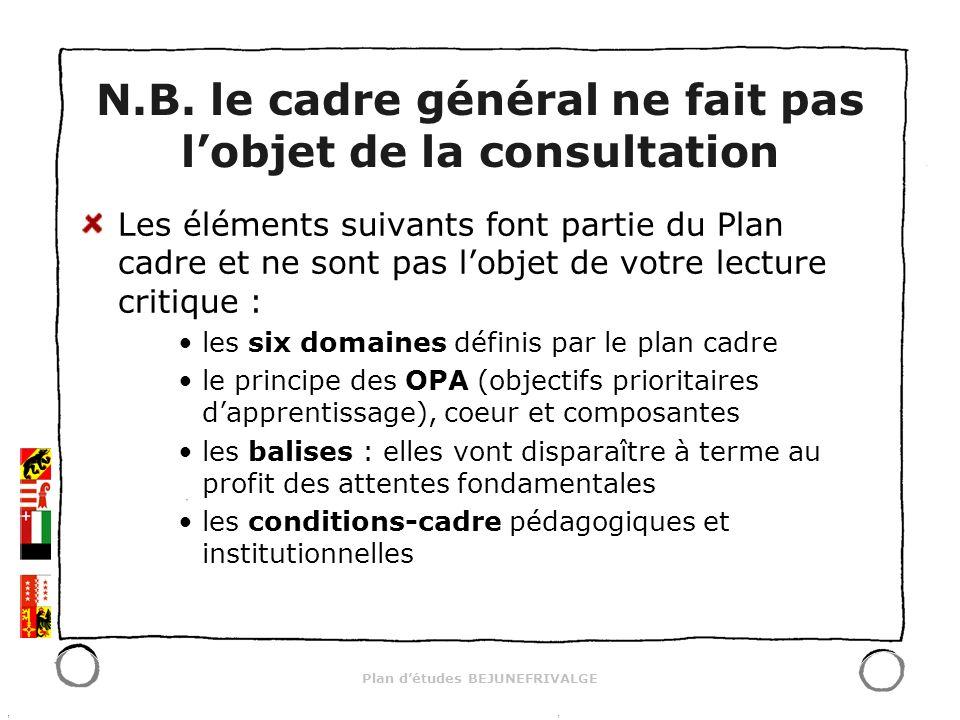 Plan détudes BEJUNEFRIVALGE Les éléments suivants font partie du Plan cadre et ne sont pas lobjet de votre lecture critique : les six domaines définis