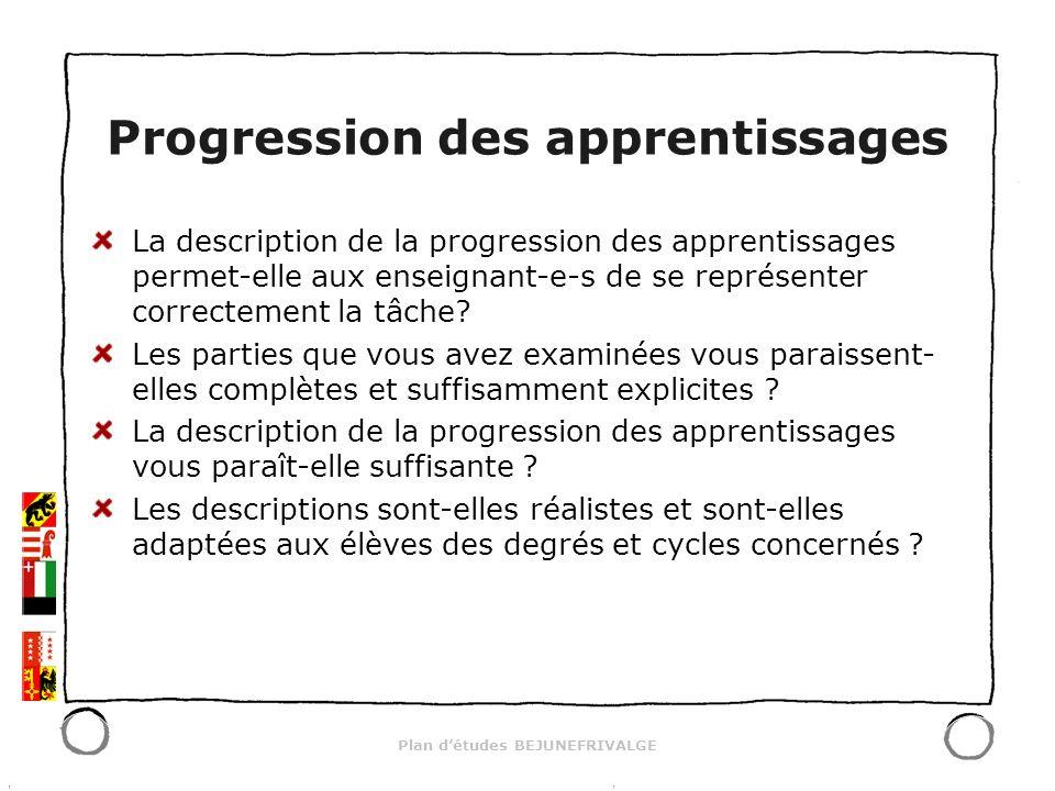 Plan détudes BEJUNEFRIVALGE Progression des apprentissages La description de la progression des apprentissages permet-elle aux enseignant-e-s de se représenter correctement la tâche.