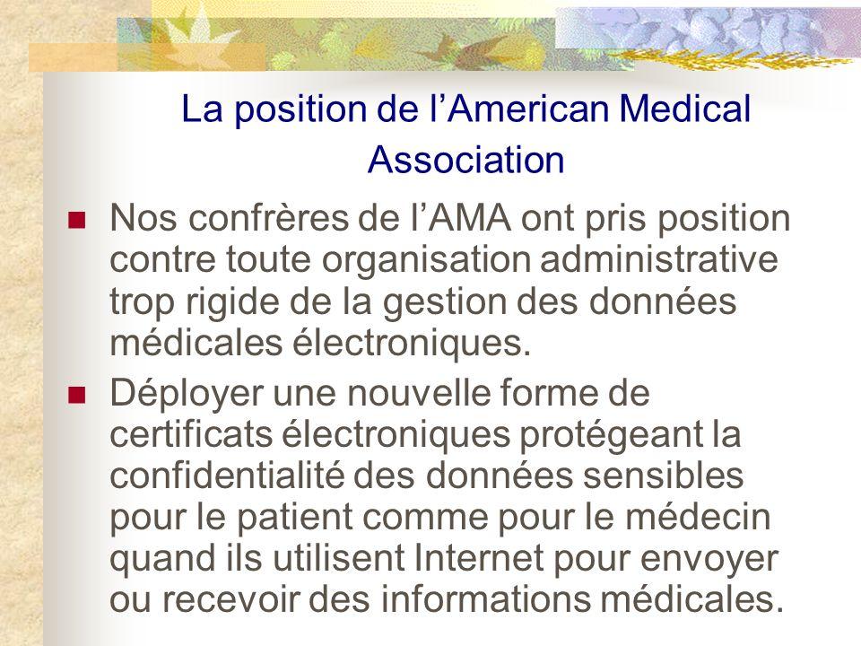 La position de lAmerican Medical Association Nos confrères de lAMA ont pris position contre toute organisation administrative trop rigide de la gestion des données médicales électroniques.