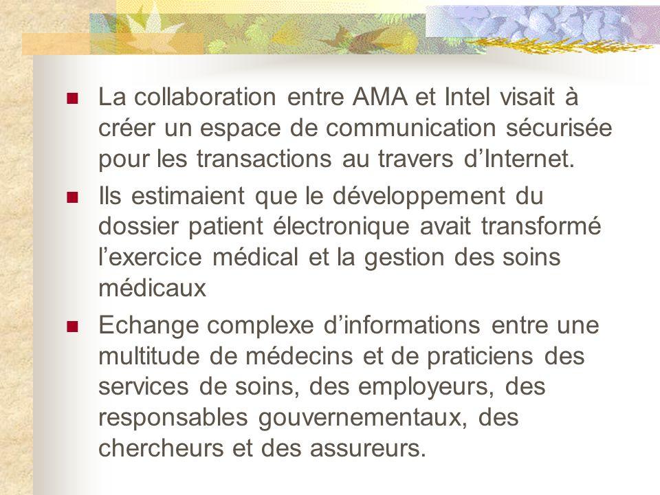 La collaboration entre AMA et Intel visait à créer un espace de communication sécurisée pour les transactions au travers dInternet.