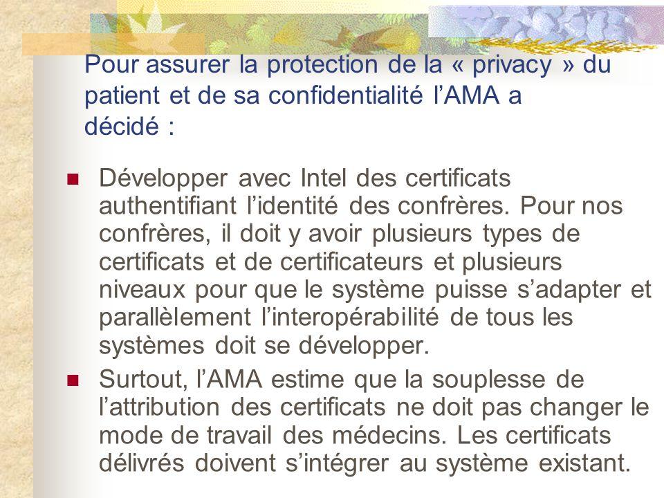 Pour assurer la protection de la « privacy » du patient et de sa confidentialité lAMA a décidé : Développer avec Intel des certificats authentifiant lidentité des confrères.