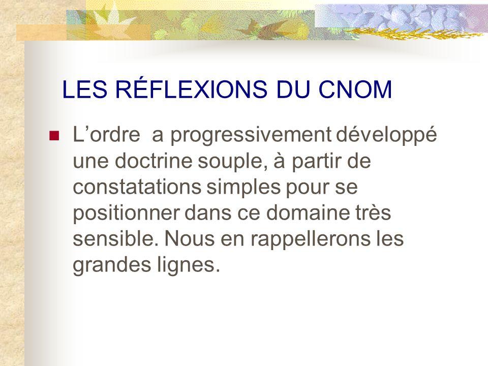LES RÉFLEXIONS DU CNOM Lordre a progressivement développé une doctrine souple, à partir de constatations simples pour se positionner dans ce domaine très sensible.