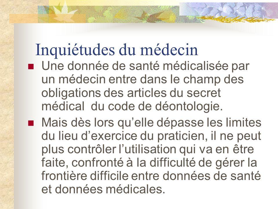 Inquiétudes du médecin Une donnée de santé médicalisée par un médecin entre dans le champ des obligations des articles du secret médical du code de déontologie.