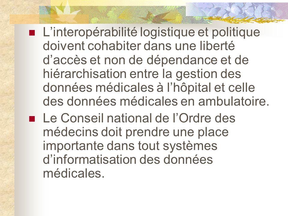 Linteropérabilité logistique et politique doivent cohabiter dans une liberté daccès et non de dépendance et de hiérarchisation entre la gestion des données médicales à lhôpital et celle des données médicales en ambulatoire.