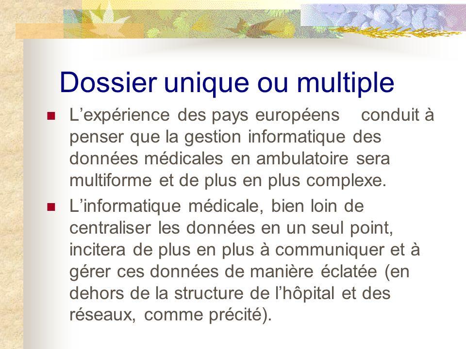 Dossier unique ou multiple Lexpérience des pays européens conduit à penser que la gestion informatique des données médicales en ambulatoire sera multiforme et de plus en plus complexe.
