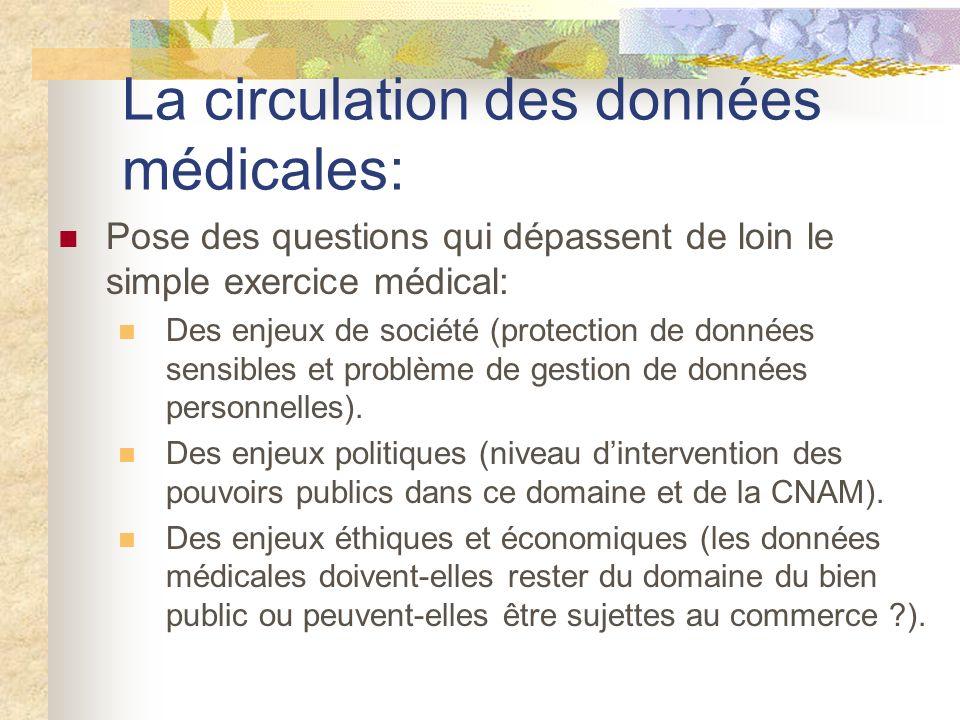 La circulation des données médicales: Pose des questions qui dépassent de loin le simple exercice médical: Des enjeux de société (protection de données sensibles et problème de gestion de données personnelles).