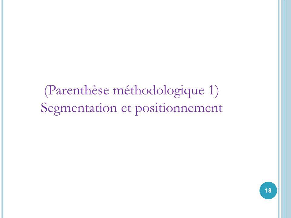 18 (Parenthèse méthodologique 1) Segmentation et positionnement