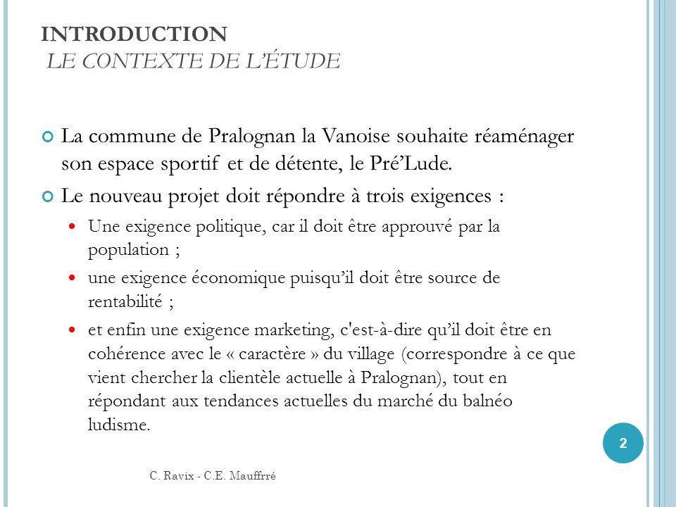 INTRODUCTION LE CONTEXTE DE LÉTUDE La commune de Pralognan la Vanoise souhaite réaménager son espace sportif et de détente, le PréLude. Le nouveau pro