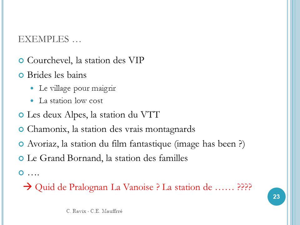 EXEMPLES … Courchevel, la station des VIP Brides les bains Le village pour maigrir La station low cost Les deux Alpes, la station du VTT Chamonix, la