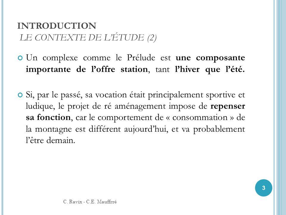 INTRODUCTION LE CONTEXTE DE LÉTUDE (2) Un complexe comme le Prélude est une composante importante de loffre station, tant lhiver que lété. Si, par le