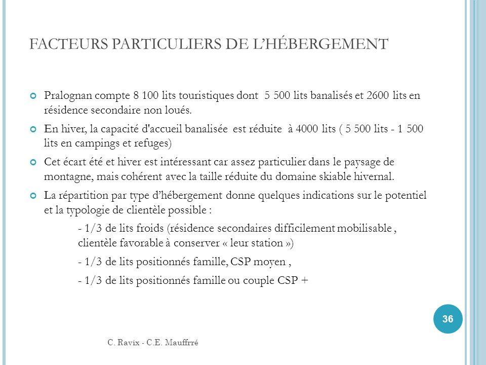 FACTEURS PARTICULIERS DE LHÉBERGEMENT Pralognan compte 8 100 lits touristiques dont 5 500 lits banalisés et 2600 lits en résidence secondaire non loué