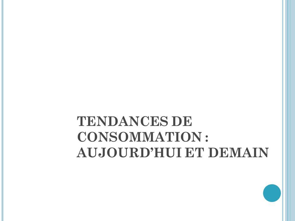 TENDANCES DE CONSOMMATION : AUJOURDHUI ET DEMAIN