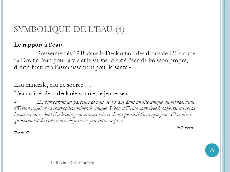 SYMBOLIQUE DE LEAU (4) Le rapport à leau Pressentie dès 1948 dans la Déclaration des droits de LHomme : « Droit à leau pour la vie et la survie, droit